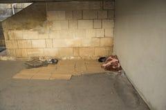 De dakloze personen beschutten Stock Foto