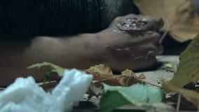 De daklozen bevriezen in huisvuil, pijnlijke plekken op handen van besmettelijke ongeneeslijke ziekten stock videobeelden
