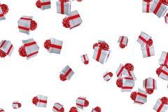 De dalende dozen van de Kerstmisgift op witte achtergrond, vakantie feestelijke gebeurtenis Stock Fotografie