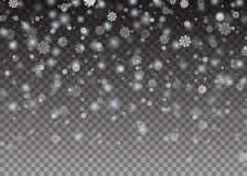 De dalende Glanzende mooie sneeuw van sneeuwvlokkerstmis op transparante achtergrond Sneeuwvlokken, sneeuwval Vector illustratie royalty-vrije stock afbeelding