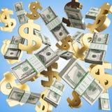 De dalende gouden kentekens en de pakken 3d dollars geven op gradiënt terug Royalty-vrije Stock Foto