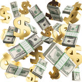 De dalende gouden kentekens en de pakken 3d dollars geven op witte bedelaars terug Stock Foto's
