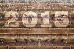 De dalende sneeuw schilfert houten raad 2015 af Royalty-vrije Stock Fotografie