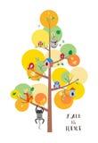 De daling is hier de vlakke vectorillustratie van de de herfstboom Stock Foto