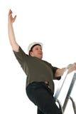 De daling van de arbeider van een ladder royalty-vrije stock foto