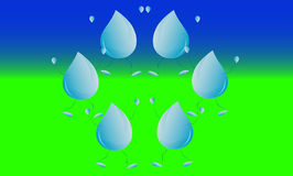 De daling van de regen op groen gebied Stock Afbeeldingen
