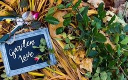 De daling van de tuinliefde nam het Tuinieren achtergrondkaartfotografie toe Stock Fotografie
