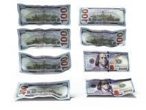 De daling van dollarnota's op de 3d vloer geeft op witte achtergrond met schaduw terug vector illustratie