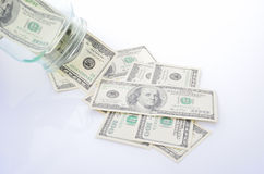 De daling van dollarrekeningen uit banken Stock Fotografie
