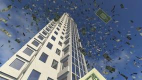 De daling van het dollargeld van een geanimeerde wolkenkrabber 4K vector illustratie