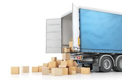 De daling van kartondozen uit van het vervoer op een witte achtergrond wordt geïsoleerd die 3D Illustratie Stock Afbeeldingen