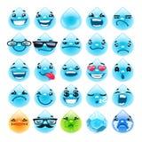 De Dalingen Emoticons van het beeldverhaalwater Stock Afbeelding
