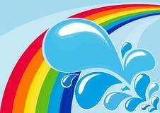 De dalingen van de regenboog en van het water stock illustratie