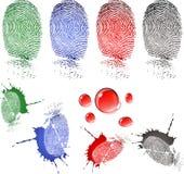 De dalingen van de vingerafdruk en van het bloed stock illustratie