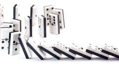 De dalingen van domino's Stock Foto's