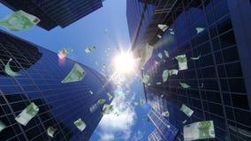 De dalingen van 100 Eurobankbiljetten van financieel centrum royalty-vrije illustratie