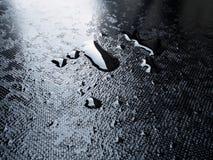 De dalingen van het nadrukwater op plastic achtergrond Royalty-vrije Stock Foto