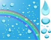 De dalingen van het water met regenboog. Vector Illustratie