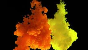 De dalingen van de kleurenverf in duidelijk water tegen een zwarte bcakground in langzame motie stock footage