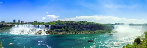 De Dalingen van panoramaniagara stock foto's
