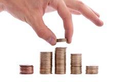 De dalingsgeld van de hand Stock Foto's