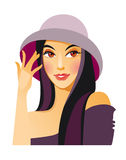De dame in een hoed Royalty-vrije Stock Foto