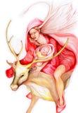 De dame en het kind van Kerstmis stock illustratie