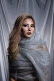 De dame op Sterachtergrond met drapeert grijs zilver schittert stof Ha stock fotografie