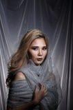 De dame op Sterachtergrond met drapeert grijs zilver schittert stof Ha stock afbeeldingen