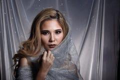 De dame op Sterachtergrond met drapeert grijs zilver schittert stof Ha royalty-vrije stock foto's