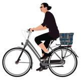 De dame van Biking royalty-vrije illustratie