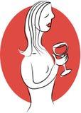 De Dame van de wijn Stock Afbeelding