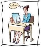De dame van het bureau Stock Foto