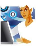 De dame van het bureau bij laptop Stock Foto