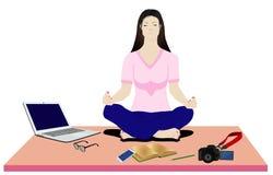 De damemeditatie in ruimte royalty-vrije illustratie