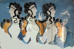 De Dames van de fresko in Blauw Stock Foto's