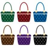De dames vormen geplaatste handtassen Stock Foto's