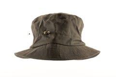 De dames zetten hoed en geïsoleerde hoedenspeld in de was royalty-vrije stock foto's