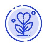 De dankbaarheid, groeit, de Groei, Hart, houdt van het Blauwe Pictogram van de Gestippelde Lijnlijn vector illustratie