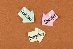 De dankbaarheid verandert alles stock foto's