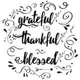 De dankbare dankbare heilige vectorhand getrokken kaart verfraaide bloemenornament Royalty-vrije Stock Afbeeldingen