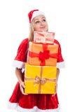 De dankbare holding van de Kerstmisvrouw stelt voor Stock Foto's