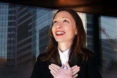 De dankbare verandering van de de vrouwencarrière van de directeur Nieuwe baan zoekt vooruit stock foto's