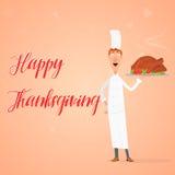 De dankzegging, chef-kok toont gekookt Turkije op een dienblad aan Stock Foto
