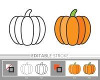 De dankzeggings kleurende pagina van het pompoen lineaire pictogram royalty-vrije illustratie
