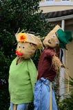 De dankzeggingsdecoratie - twee poppen van de strodankzegging Royalty-vrije Stock Foto's