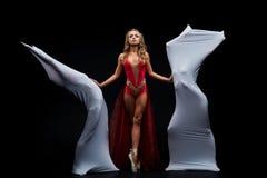 De dans toont Flexibele en plastic meisjes Het ballet toont stock afbeelding