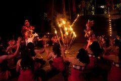 De Dans van de Brand van Kecak van vrouwen Royalty-vrije Stock Fotografie