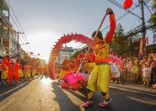 De dans van de draak bij het MaanFestival van het Nieuwjaar Tet, Vietnam Royalty-vrije Stock Fotografie