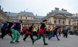 De dans van de flits menigte in Parijs Stock Afbeelding